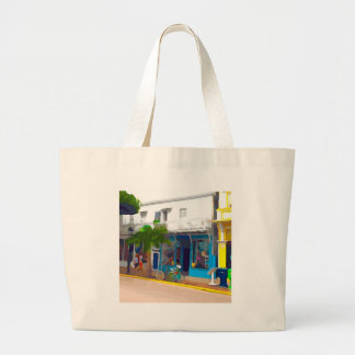 Colorful Stores in Key West Large Tote Bag