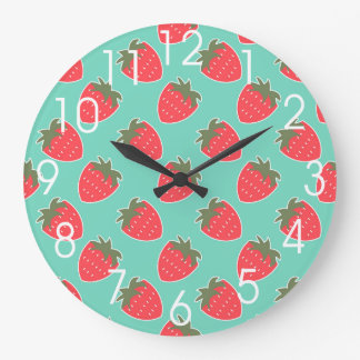 Colorful Strawberry Fruit Seamless Pattern Large Clock