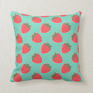 Colorful Strawberry Fruit Seamless Pattern Throw Pillow