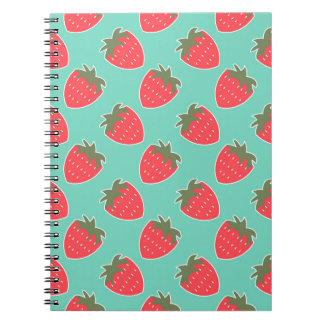 Colorful Strawberry Fruit Seamless Pattern Spiral Notebook