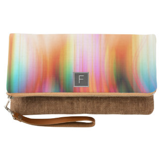 Colorful Streaked Abstract Monogram | Clutch Purse