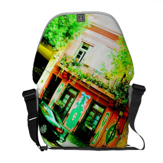 Colorful street and historic. messenger bag