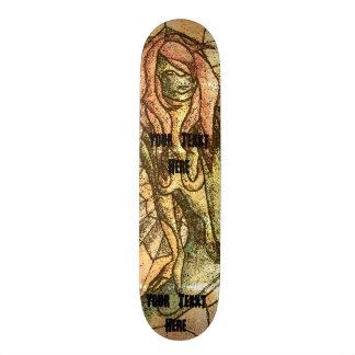 colorful street art style abstract lady retro skateboard deck