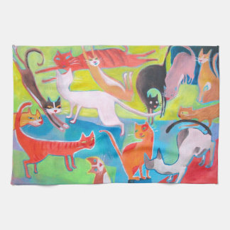 colorful street cats art hand towels