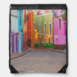Colorful street scene drawstring backpack