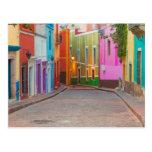 Colorful street scene postcard