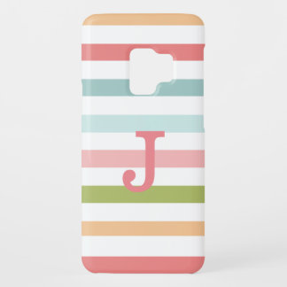 Colorful Stripe Monogrammed Samsung Galaxy S9 Case