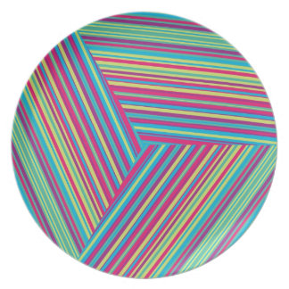 Colorful Stripe Pattern Party Plates