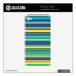 Colorful Stripe Pattern Skins For iPhone 4S