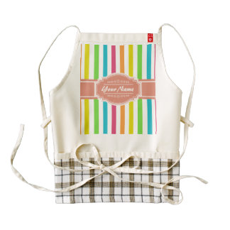 Colorful Stripe Pattern with Personalized Name Zazzle HEART Apron