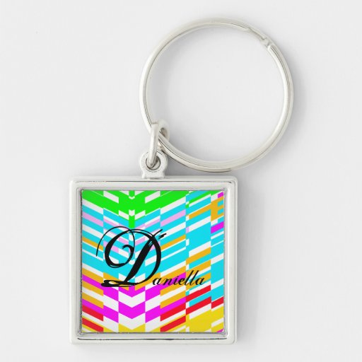 Colorful Stripe Pop Art Keychain Add Name