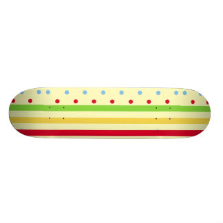 Colorful Striped and Polka Dots Skateboard