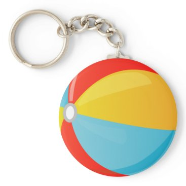 all_summer_products Colorful Striped Beach Ball Button Keychain