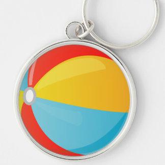 Colorful Striped Beach Ball Premium Round Keychain