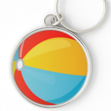 all_summer_products Colorful Striped Beach Ball Premium Round Keychain