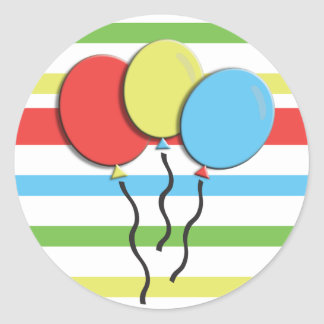 Colorful Striped - Birthday Balloons Classic Round Sticker