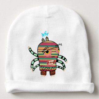Colorful Striped Cartoon Monster with Six Arms Baby Beanie