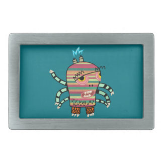 Colorful Striped Cartoon Monster with Six Arms Belt Buckle