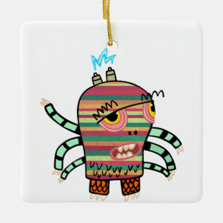 Colorful Striped Cartoon Monster with Six Arms Ceramic Ornament