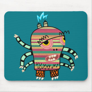 Colorful Striped Cartoon Monster with Six Arms Mouse Pad