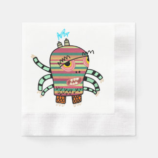 Colorful Striped Cartoon Monster with Six Arms Paper Napkin