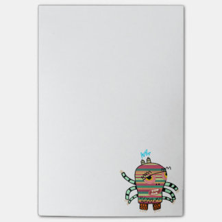 Colorful Striped Cartoon Monster with Six Arms Post-it Notes
