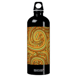 Colorful Striped Curls Pattern Water Bottle