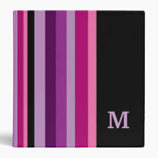 Colorful Striped Custom Monogrammed Vinyl Binder