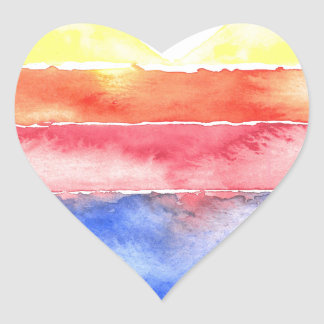 Colorful striped heart painted in watercolour heart sticker
