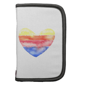 Colorful striped heart painted in watercolour organizer