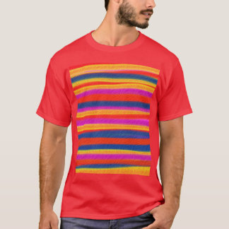 Colorful Striped Painting Acrylic Abstract Art T-Shirt