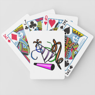 Colorful Striped Party Hat, Party Horn,& Streamers Bicycle Playing Cards