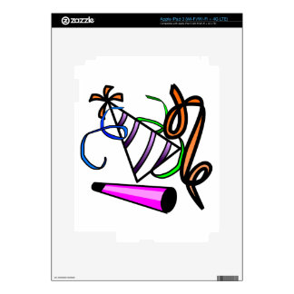 Colorful Striped Party Hat, Party Horn,& Streamers iPad 3 Decal