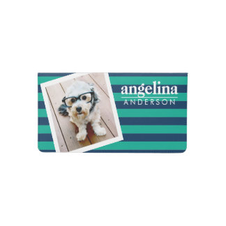 Colorful Striped Pattern Custom Name and Photo Checkbook Cover