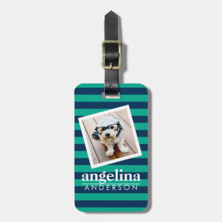 Colorful Striped Pattern Custom Name and Photo Tag For Luggage