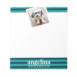 Colorful Striped Pattern Custom Name and Photo Notepad