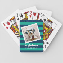 Colorful Striped Pattern Custom Name and Photo Playing Cards