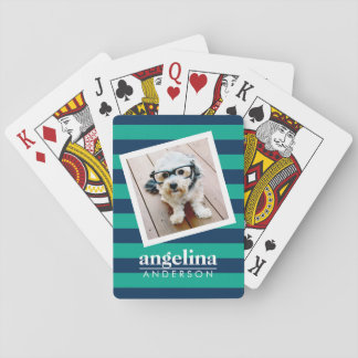 Colorful Striped Pattern Custom Name and Photo Poker Deck