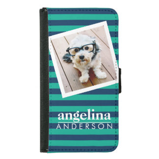 Colorful Striped Pattern Custom Name and Photo Wallet Phone Case For Samsung Galaxy S5