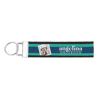 Colorful Striped Pattern Custom Name and Photo Wrist Keychain