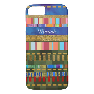colorful striped-pattern personalized iPhone 7 case