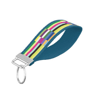 Colorful Striped Pattern Wrist Keychains