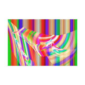 Colorful Striped Psychedelic Fractal Flame Design Canvas Print