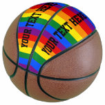 Colorful Striped Rainbow Basketball