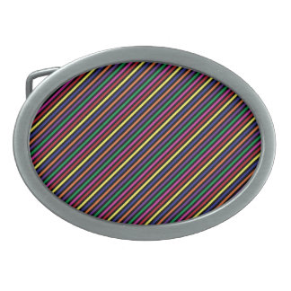 Colorful Striped Rep Pattern Belt Buckle