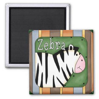 Colorful Striped Zebra Block Magnet