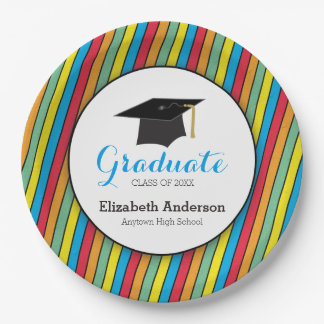 Colorful Stripes and Hat Personalized Graduation 9 Inch Paper Plate