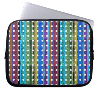colorful stripes and white polkadots computer sleeve