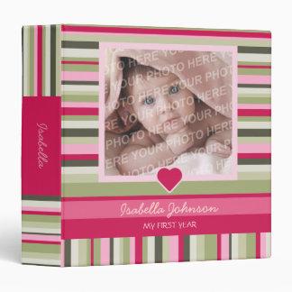 Colorful Stripes Baby Girl Photo Album Binder
