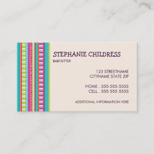Babysitting business cards templates zazzle colorful stripes babysitting business card friedricerecipe Gallery